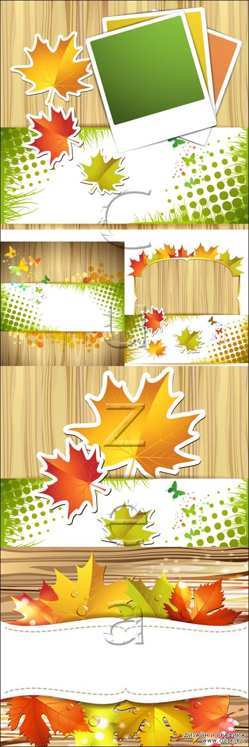 Wood background with autumn colorful leaves - vector stock