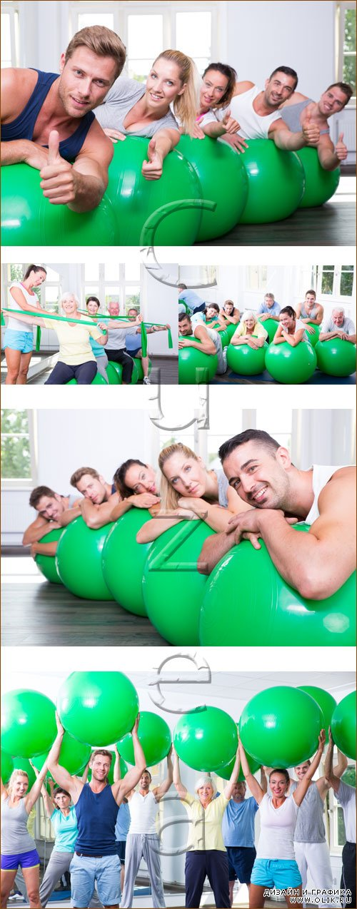 Sport group of people with green balls - Stock photo