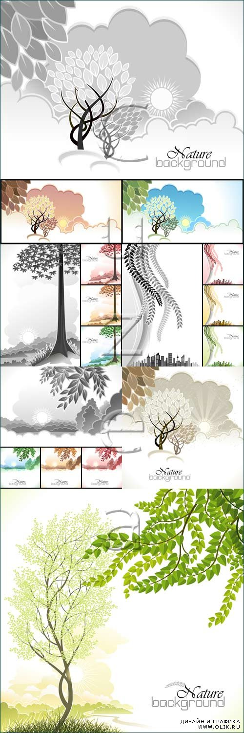Backgrounds with tree - vector stock