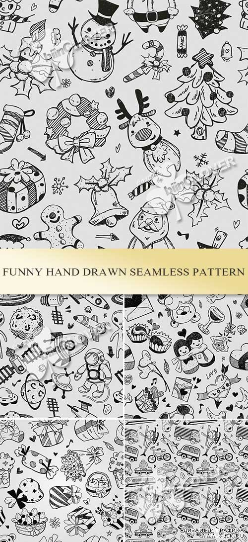 Funny hand drawn seamless pattern 0485