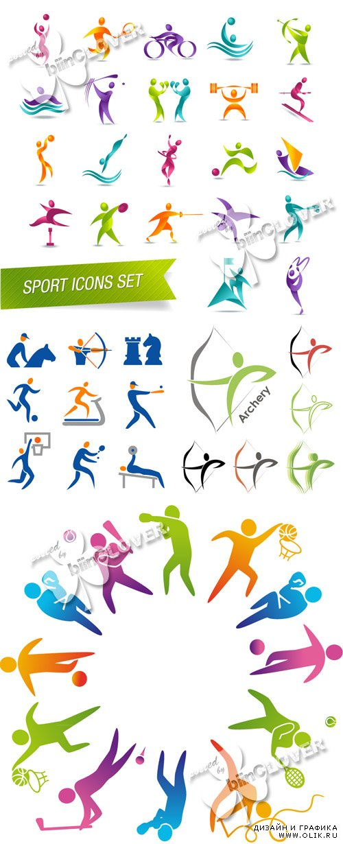 Colorful sports icon set 0485
