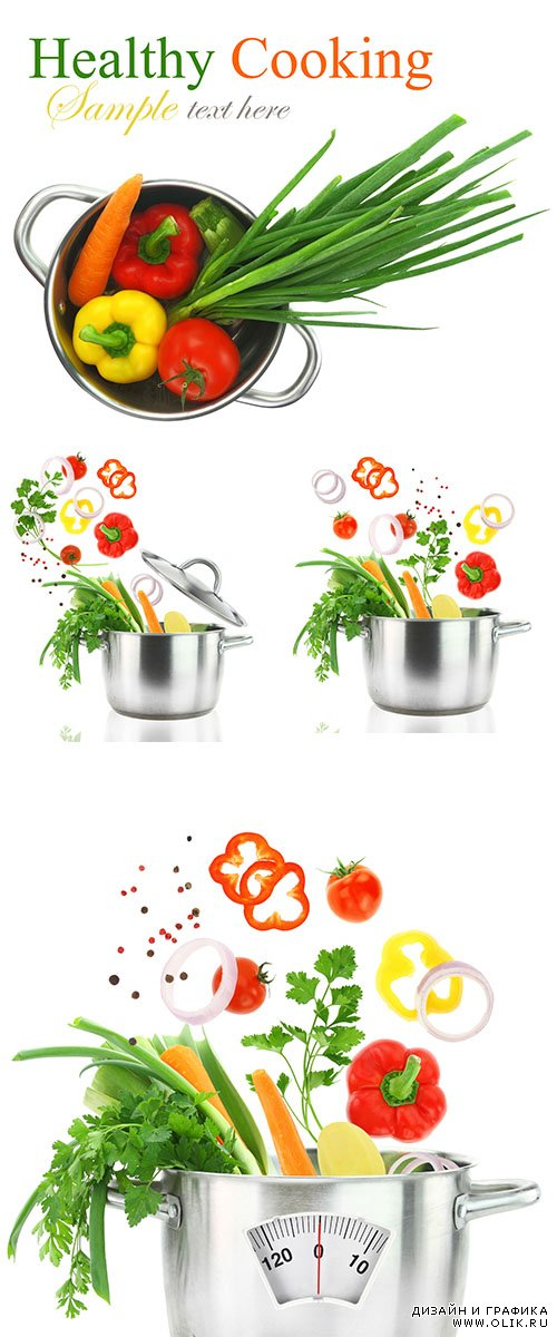 Stock Photo: Fresh vegetables falling into a stainless