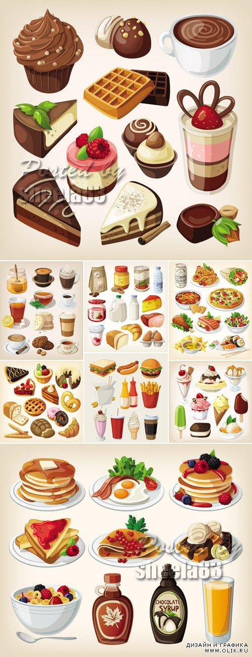 Food, Drinks, Products Icons Vector