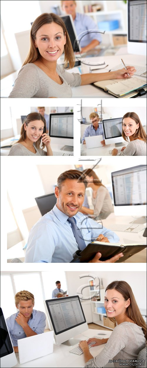 Portrait of smiling office worker - stock photo