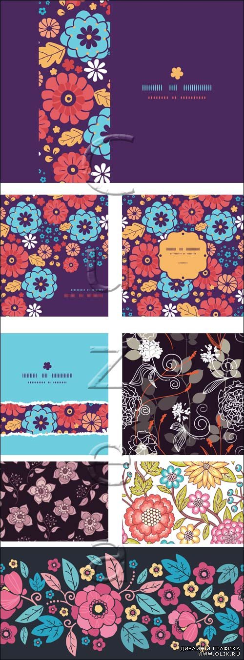 Floral backgrounds for invitations - vector stock