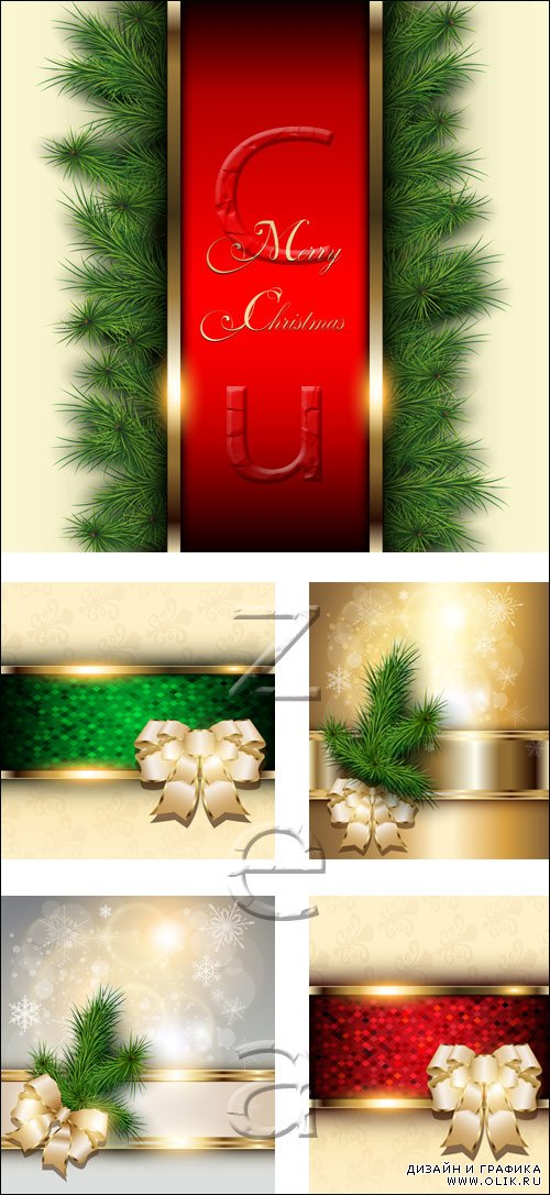 Векторные фоны с лентами / Vector holiday backgrounds with ribbons 2014