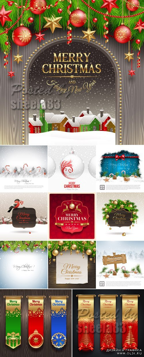 Christmas & New Year 2014 Vector