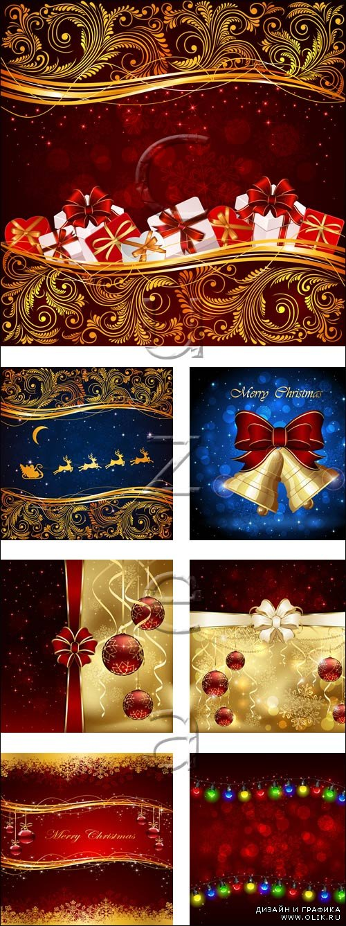 Christmas vector red elements, 6