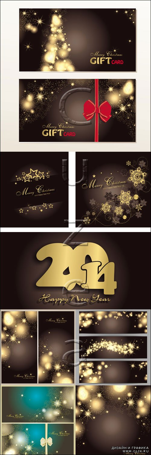 New Year vector black and gold elements - vector stock