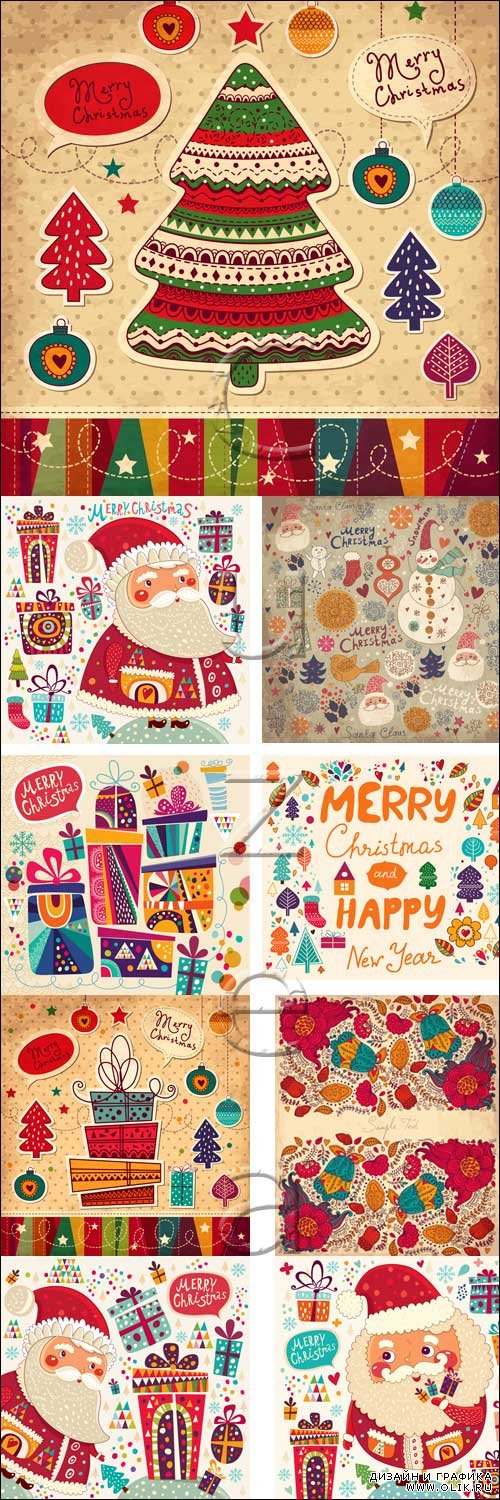 Merry christmas vintage vector elements