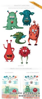Monsters Vector Characters Set