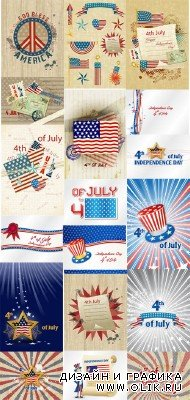 20 Illustrations 4th of July Vector Set