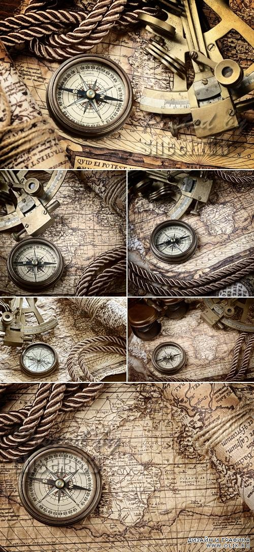 Stock Photo - Old Map & Compass