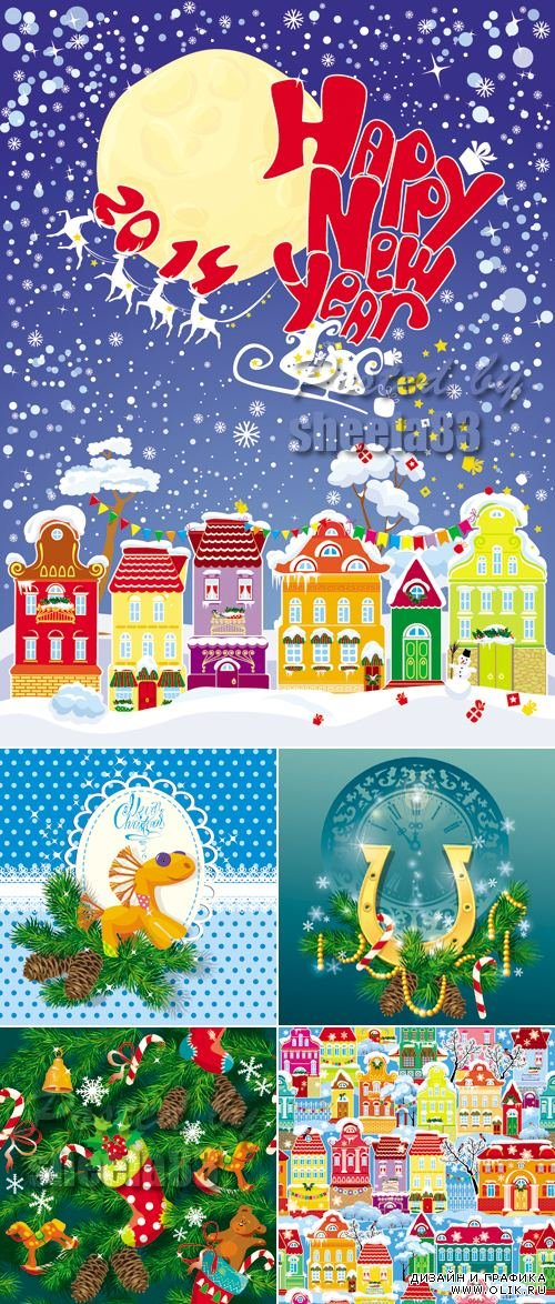 Cute New Year or Xmas Cards Vector