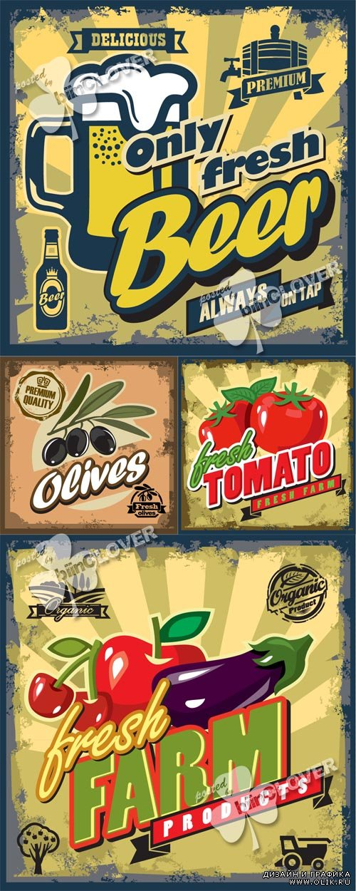 Vintage foods and drinks backgrounds 0503