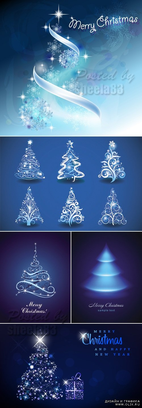 Blue Christmas Trees 2014 Vector