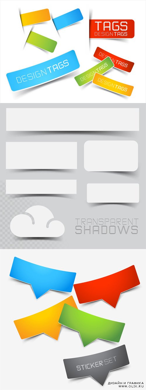 Vector Set Stickers and Banners with Shadow