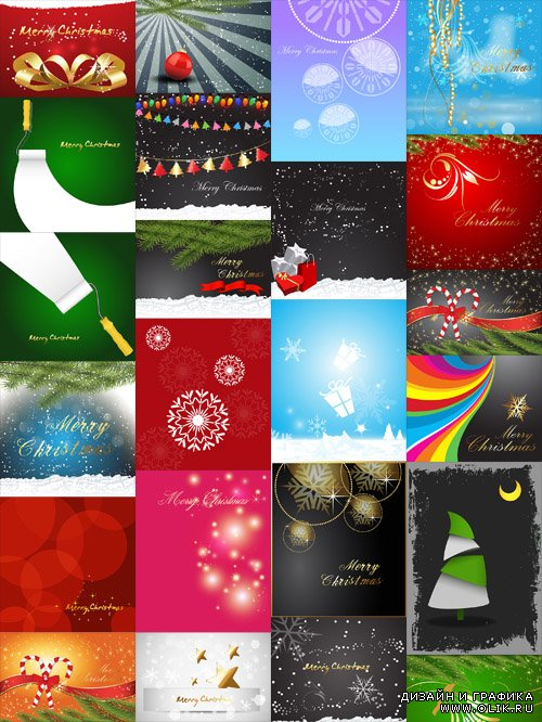 Vector Set - 25 Christmas Backgrounds