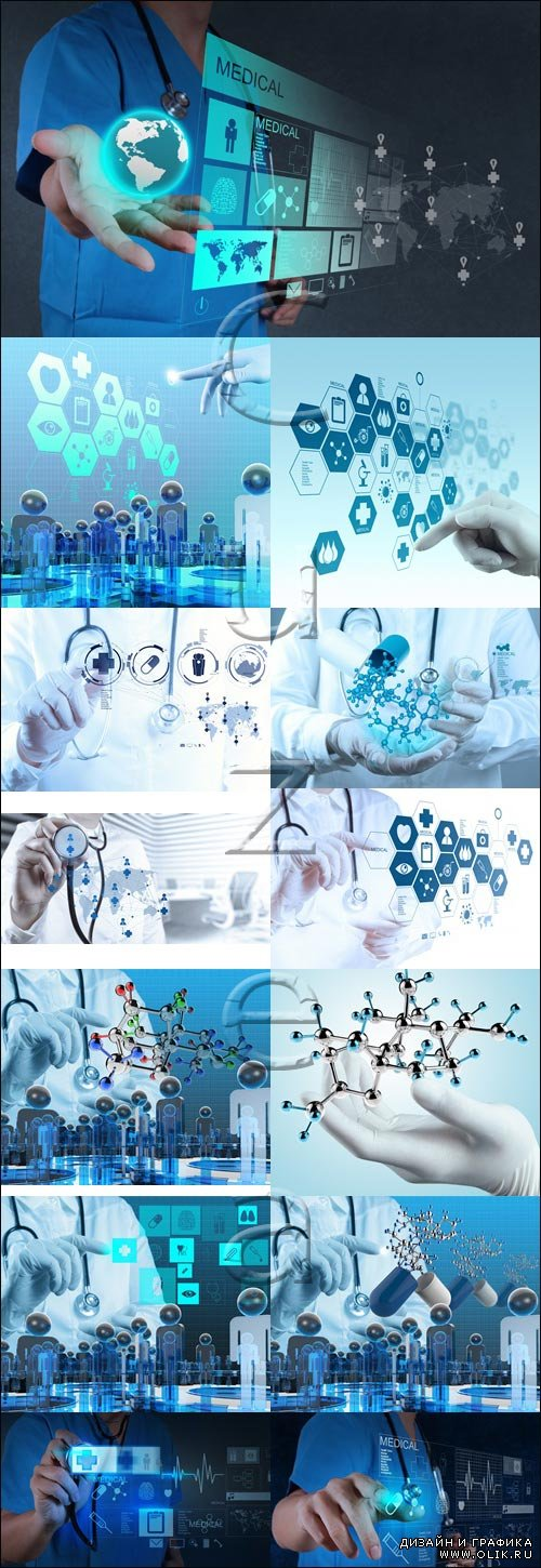Scientist doctor hand touch virtual molecule - stock photo