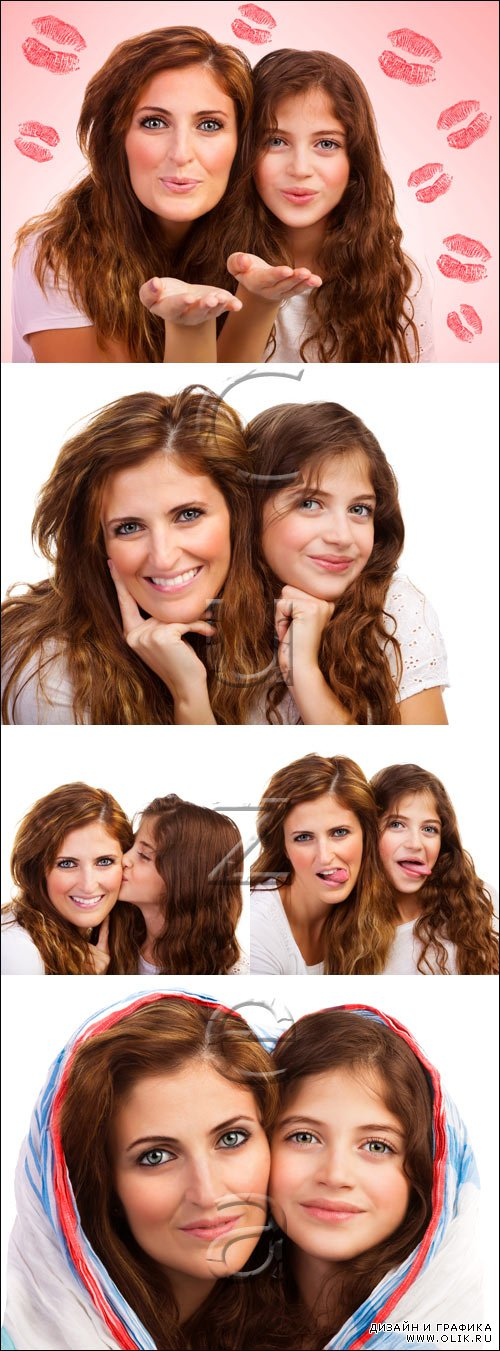 Mother and happy girl - stock photo