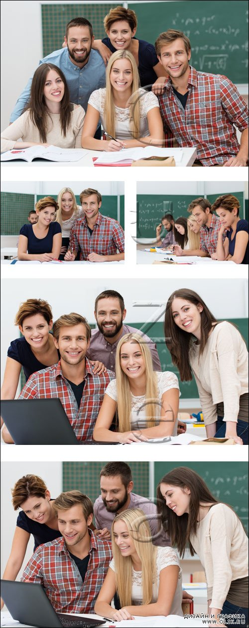 Students with notebook - stock photo