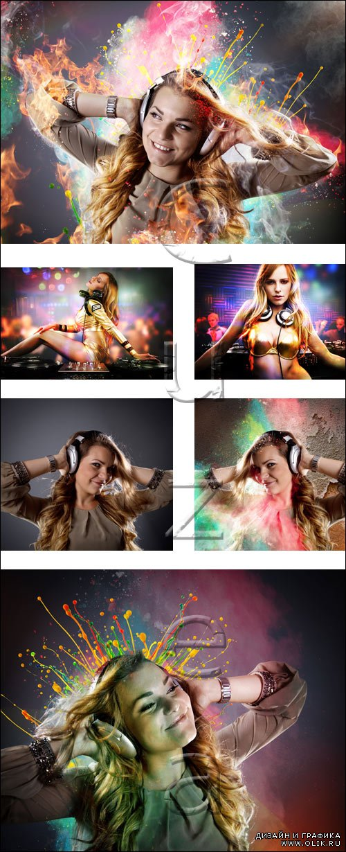 Girl  music DJ - stock photo