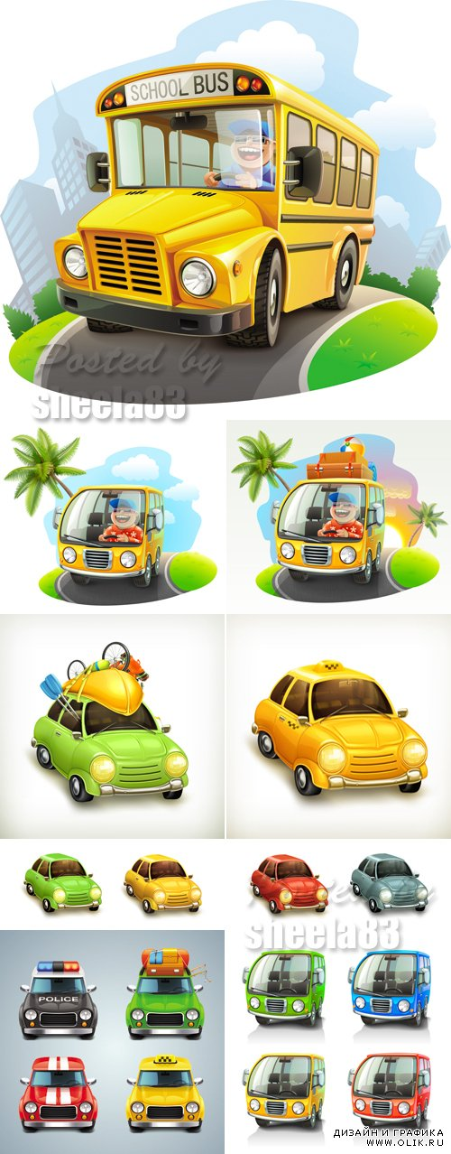 Various Car Icons Vector