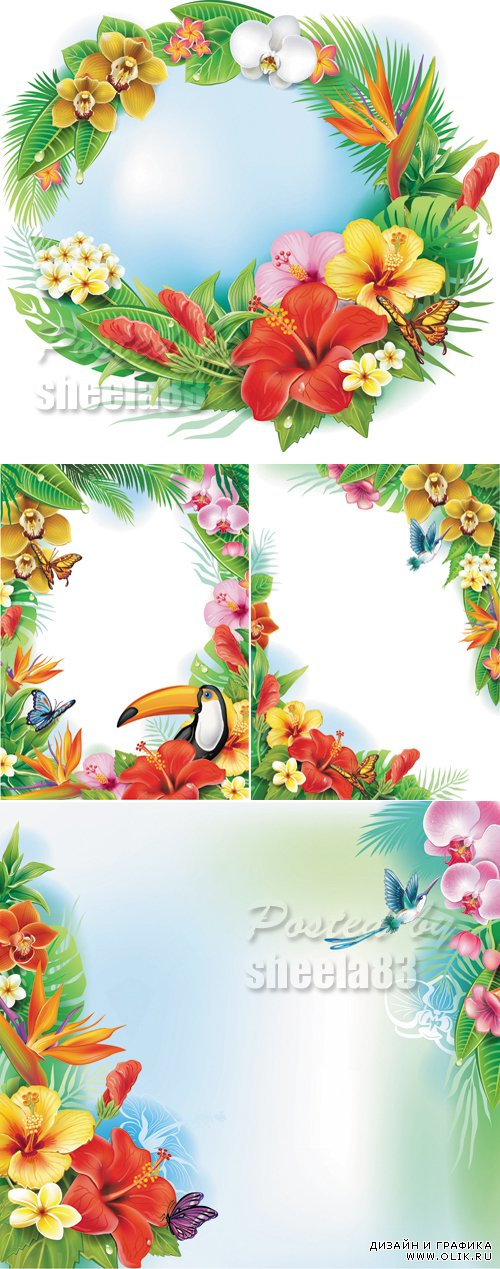 Tropical Flowers Backgrounds Vector 2