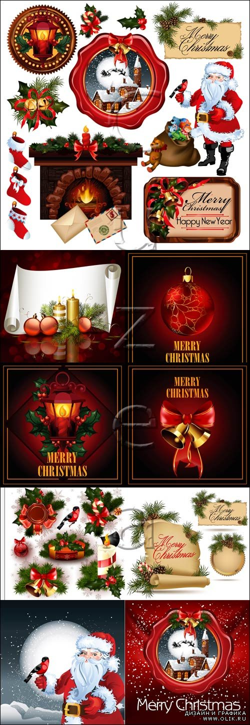 Merry christmas vector elements, 30