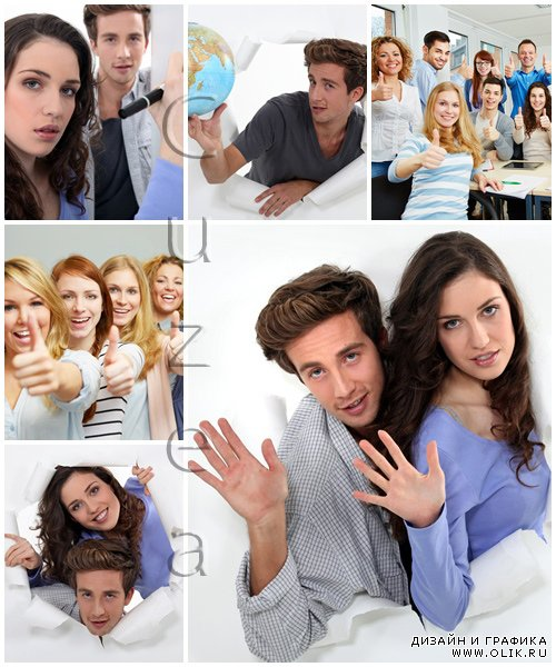 Happy students, 15 - stock photo