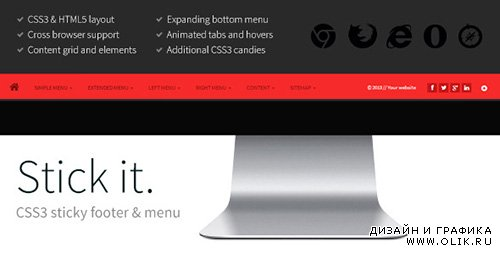 CC - Stick it. v1.1 - HTML5 & CSS3 Sticky Footer & Menu