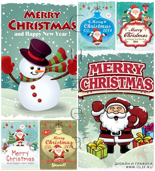 Vintage Christmas poster design with Santa Claus - vector stock