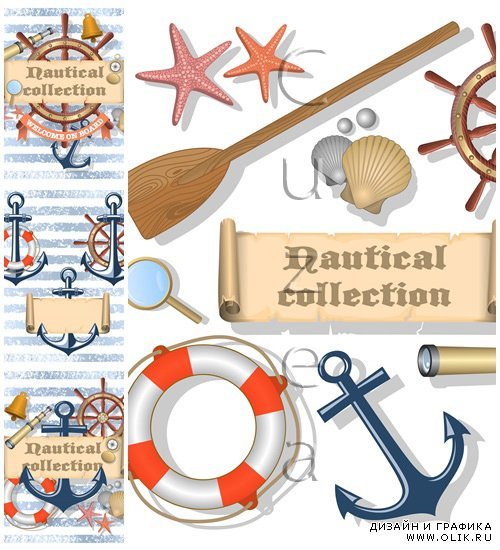Collection of nautical designed elements - vector stock