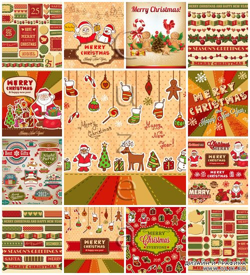 Merry christmas vector elements 2014, part 35