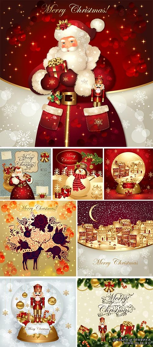 Stock: Christmas illustration with Santa Claus