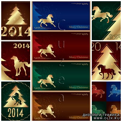 Vector simbol of 2014 year - horses