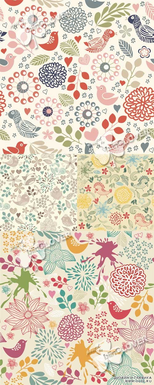 Seamless floral pattern with birds 0538