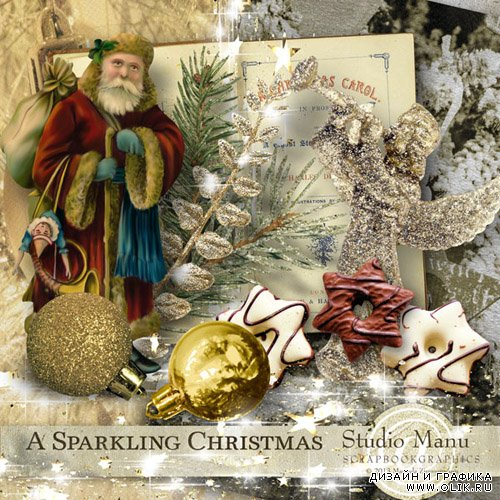 Scrap - A Sparkling Christmas PNG and JPG Files