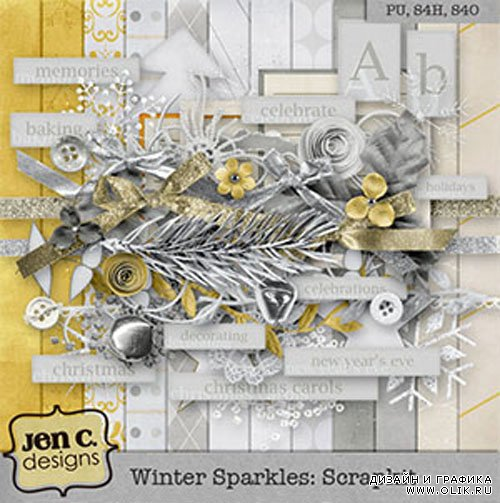 Winter Sparkles Scrap Kit PNG and JPG Files