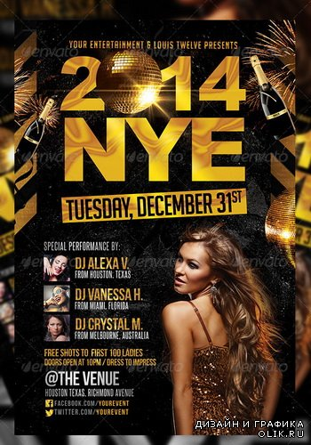 GraphicRiver - NYE Party | Flyer + FB Cover - 6125901