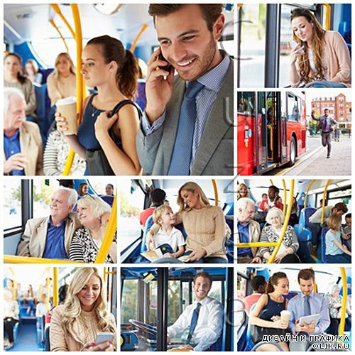 People in the sity bus - stock photo