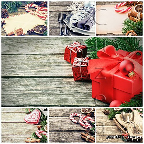 Christmass elements on wood - stock photo