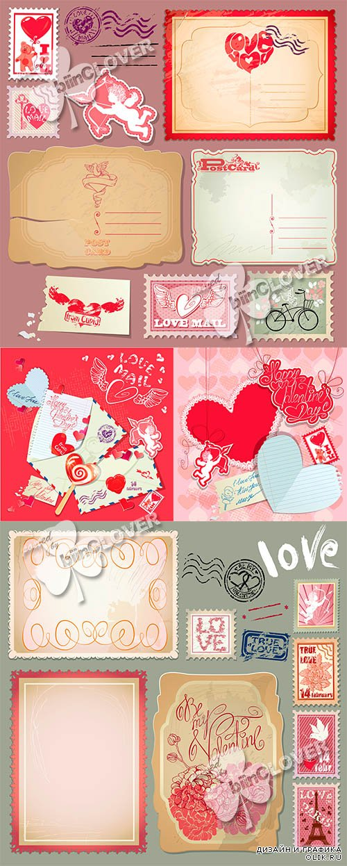 Retro postcards and post stamps for Valentines day 0559