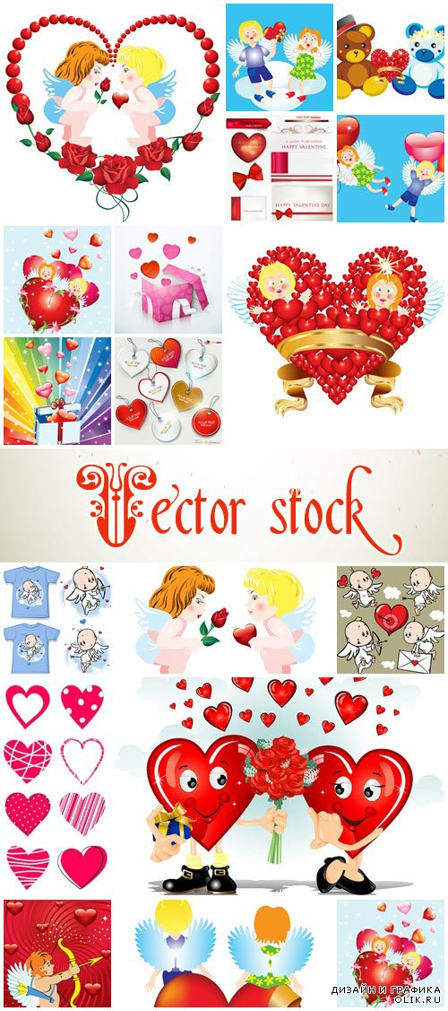 Vector collection for Valentines Day, 14 February, part 7