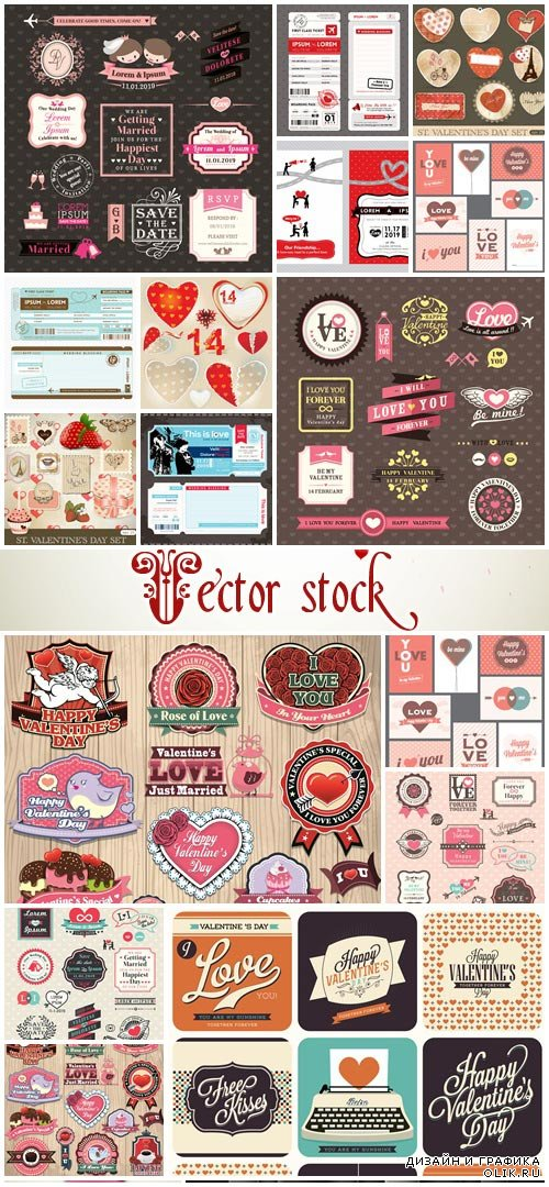 Love labels and wedding elements - vector stock