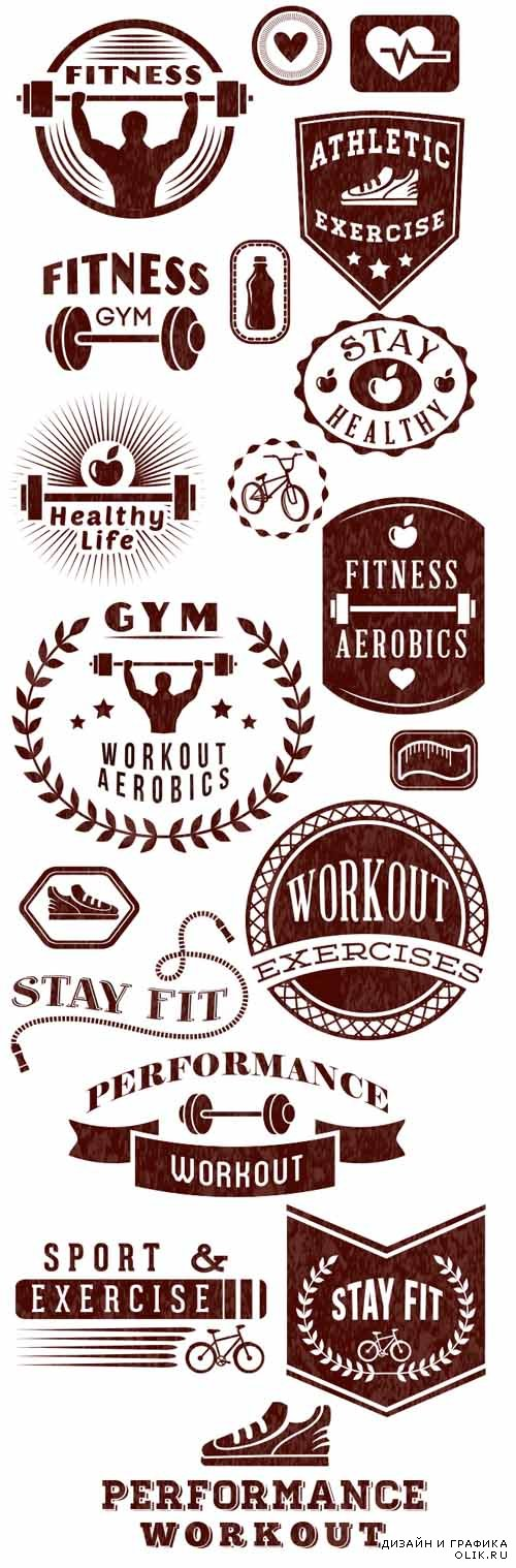 Fitness Logos Vector Set