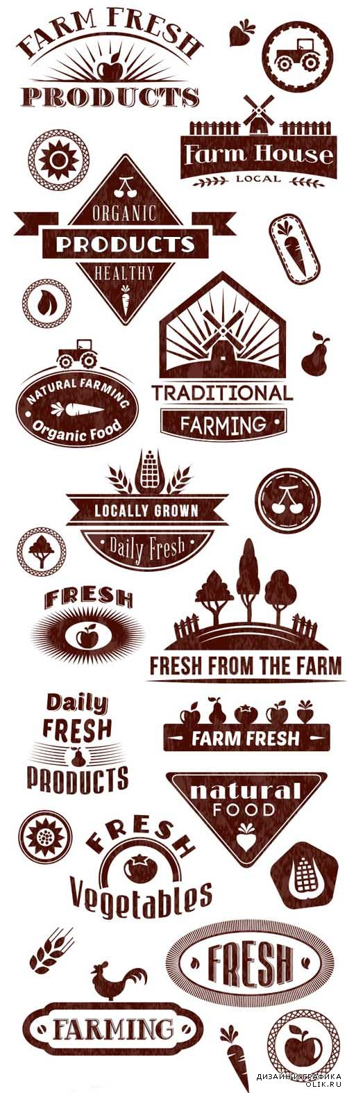 Farm Logos Vector Set