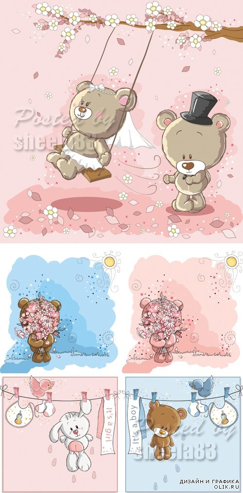 Cute Baby Bears Cards Vector