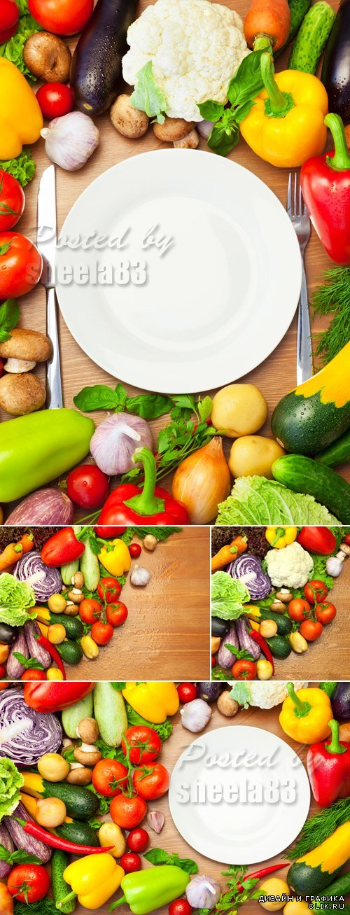 Stock Photo - Vegetables on Wooden Background 3