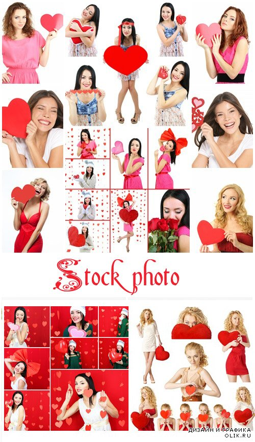 Collage of Valentine's Day. Attractive young woman - stock photo